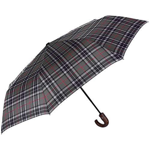 Paraguas Plegable Hombre Escoces Verde Mango Curvo