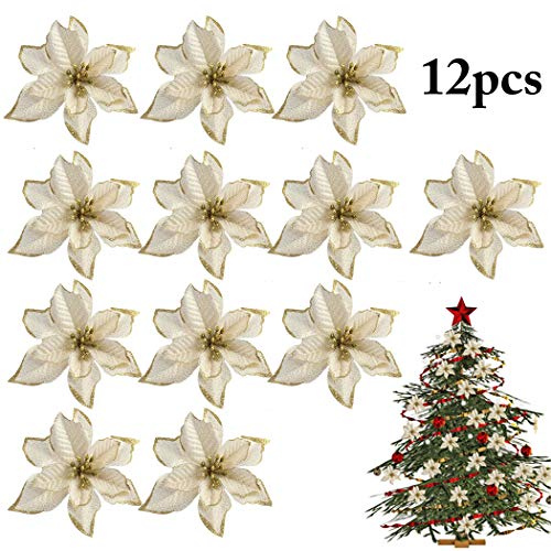 Buy Outgeek 12pcs Christmas Glitter Poinsettia Flowers Gold Xmas Poinsettia Christmas Tree Wreath Decor For Christmas Year Party Decorations 15cm 5 9in Online At Low Prices In India Outgeek 12pcs Christmas Glitter Poinsettia