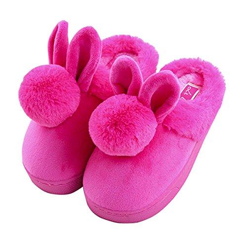 Kind Baumwolle Pantoffeln,Nette Karikatur Rabbit Hausschuhe/SlippersWinter Warme Plusch-Hausschuhe,Hausschuhe Indoor floor Anti-Rutsch-Hausschuhe Rosen-Rot