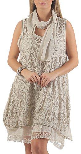 malito Damen Strickkleid mit Schal | Maxikleid mit Spitze | ärmelloses Freizeitkleid - Kostüm 7358 (beige)