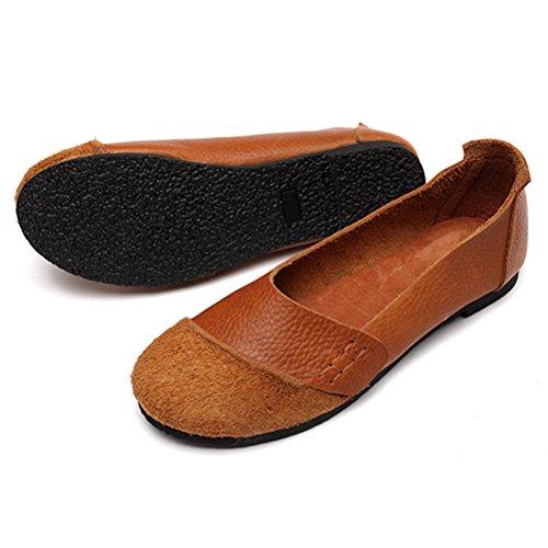MatchLife Damen Vintage Handwork Runden Leder Flach Schuhe Braun Style5-Braun