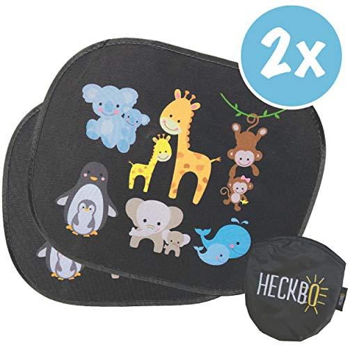 HECKBO® Parasol autoadhesivo para coche - protección solar para niños (2 piezas) | Animales bebés con momia | protección solar para ventanillas de coche | 44x36cm | parasol para coche con bolsa incl.