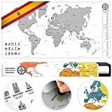 #benehacks Mapa del Mundo en ESPAÑOL Tipo póster para rascar SIGA Sus Aventuras de Viaje en un...