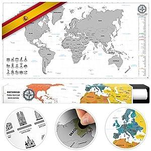 #benehacks Mapa del Mundo en ESPAÑOL Tipo póster para rascar SIGA Sus Aventuras de Viaje en un Mapa detallado del Mundo – Mapamundi Plata/Blanco – 84 x 44 cm