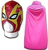 Wrestling Masks UK Shocker Rosso Costume Adulti Luchador Messicano Maschera Wrestling W/Rosa Mantella
