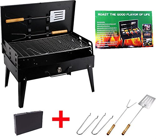 Gril barbecue à charbon Pliant, léger et portable Voyage Pique-nique + outils Noir