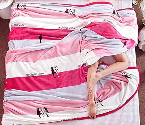 Weiche Decken Einzelne Doppel Hautfreundliche Sommer Klimaanlage Decke Winter Warme Decke Atmungsaktiv und Komfortabel Anwendbar Stuhl Sofa Bett (Rosa) -Max Home ( größe : 180*200cm ) (1 Bett-blatt-satz)