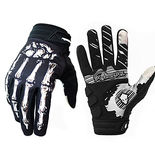 (Brosaur Mountain Bike Riding Handschuhe Handschuhe Motorrad Handschuhe Full Finger Touch Screen Handschuhe für Männer und Frauen Übung Skelett Handschuhe (Weiß, M))