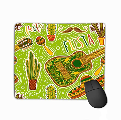 Mouse pad mexican fiesta party seamless pattern maracas sombrero mustache cacti guitar design concept invitation banner card t steelserieskeyboard Gelee Fiesta