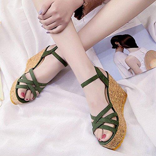 Slope mit Sandalen weiblichen Sommer High-Heels dick wasserdichte Base ausgesetzt Toe Casual Sandalen Green