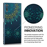 kwmobile Hülle für Sony Xperia XZ / XZs - TPU Silikon Backcover Case Handy Schutzhülle - Cover klar Vintage Blumenring Design Türkis Gelb Transparent -