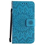 FESELE Handy Hülle Motorola Moto G2 Handy Schutzhülle Brieftasche Handyhülle Lederhülle Leder Tasche Bookstyle Handytasche Kartenfach Wallet Klapphülle Flip Case Cover,Sonnenblume,Blau