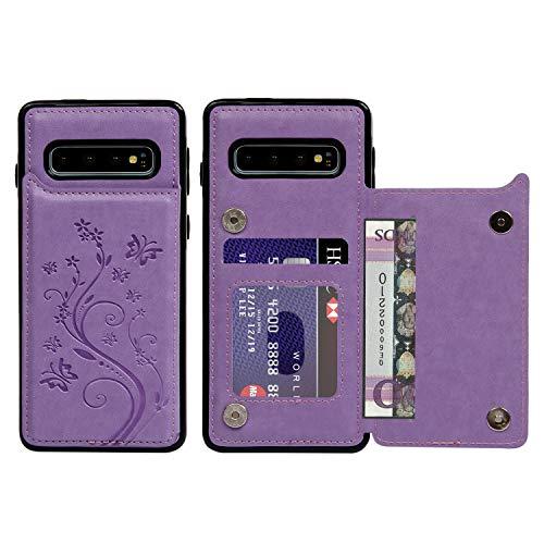 Promixc für Galaxy S10 Hülle, Premium Leder Flip Schutzhülle Doppelt Magnetic Snap mit Ständer Funktion Case Cover Brieftasche Handyhülle für Samsung Galaxy S10 - Lila Schutzhülle Flip Case