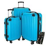 HAUPTSTADTKOFFER Hartschalen Koffer SPREE 1203  SET  MATT  TSA Zahlenschloss  + GEPÄCKGURT (Cyan Blau)