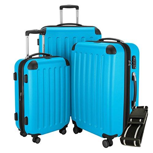 HAUPTSTADTKOFFER® Hartschalen Koffer SPREE 1203 · SET · MATT · TSA Zahlenschloss · + GEPÄCKGURT (Cyan Blau)