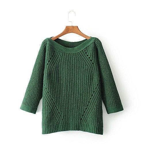 QIN&X Décontracté femmes Regroupement Top Pull laine mélangée cardigans pulls Dark Green