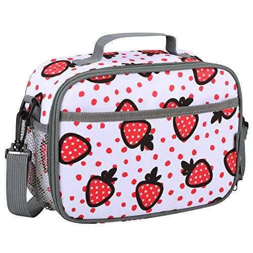 Momcozy borsa pranzo per bambini, portamerenda bambini scuola, borsa frigo con tracolla, borsa termica piccola, porta merenda bambini a tenuta stagna per picnic a scuola o sul lavoro (fragole)