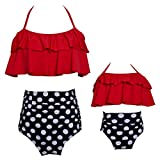 Swallowuk Familie Passende Bademode Retro Hohe Taille Bikini Sets Sommer Strand Neckholder Bademode Mutter und Mädchen Badebekleidung (L, Rot)