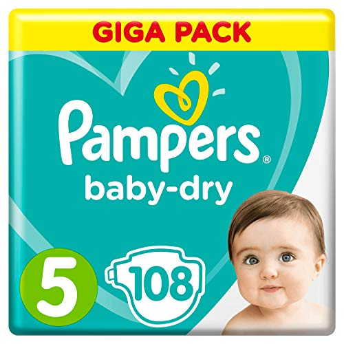Pampers Baby-Dry Gr.5, 108Windeln, Für Atmungsaktive Trockenheit