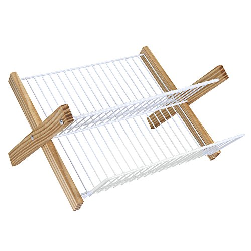 Metaltex 321845(95) - Escurreplatos plegable de plástico/madera en Quick box, 42 x 37 centímetros