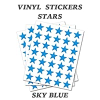 150 Sky Blue Stars - Removable Self Adhesive Waterproof Durable Vinyl Stickers - Digitally Cut to The Sticker Shape - Size 50mm