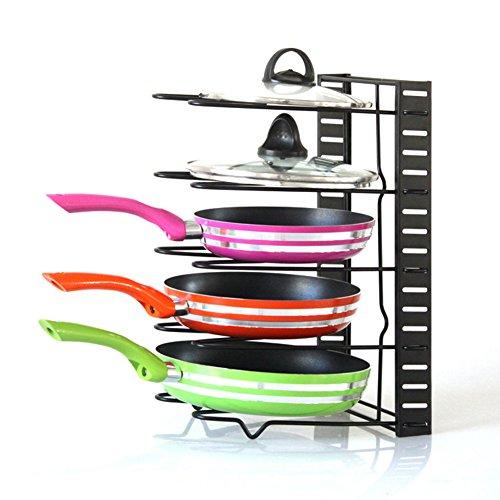 Pfanne Bakeware Storage Rack, homeyoo Verstellbare Küche Pfanne Halter Rack-Topf Deckel Organizer Ablage für für Küchengeschirr Kochgeschirr Topf Deckel schwarz (Metall-sicherheits-speicher-regal)