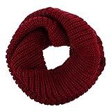 fletion Mujer Hombre tejer lana bufandas cálido invierno grosor bufanda lazo circular bufanda de punto redondo bufanda bufanda de marrón Talla:talla única