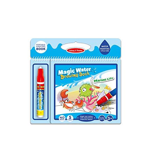 TechCode Kinder Wasserzeichen Buch, Magic Water Zeichnung Buch Wasser Malbuch Doodle Mat mit Magic Pen Malerei Board Doodle Bildungs Zeichnung Toys für Kinder Frühe Zeichnung Spielzeug (Färbung Bücher Für Jungen)