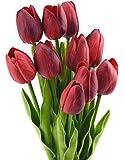 FiveSeasonStuff 10 pezzi Tocco Realistico Tulipani Artificiale Mazzo di Fiori, Ideale per Matrimoni, Sposa, Partito, Casa, Studio Décor Fai da te