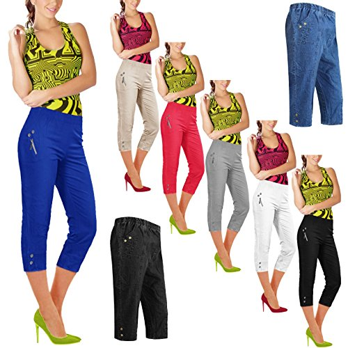 Unbranded New Womens Ladies Elasticated 3/4 Shorts Cropped Capri Trousers Stretchy Pockets Pants