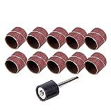 10Pcs Trommel Schleifen Kit Radsatz Dremel Zubehör Grit 80# 12,5 mm + 1 Stück Sand Dorn 3,17 mm für Drehwerkzeug