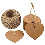 Dproptel Heart Shaped Kraft Paper Cards Gift Favor Tags Price Tags for Wedding Christmas Party Supplies with 20m Jute Twine (Brown)