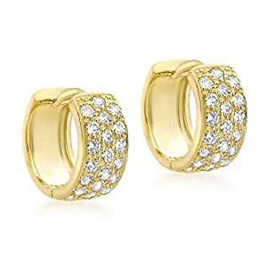 Carissima Gold 9 ct Or jaune avec 12 mm Pave Set Cubic Zirconia Huggy Earrings