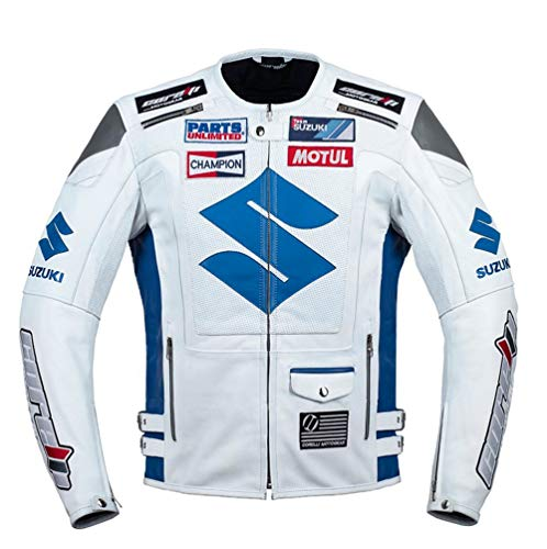 Corelli MG Suzuki Weiß Racing Motorrad Lederjacke (M) (Für Motorrad Blau Suzuki Jacke)
