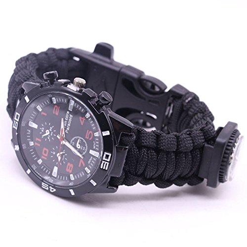 LANSKIRT Outdoor Survival Watch Armband Paracord Kompass Flint Feuerstarter Pfeife (D)