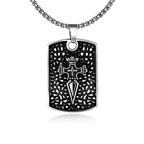 lureme® Mode Titanium Steel Arrowhead Necklaces Kreuz Hund Tag Pendant With 60CM Kette Halskette(01004011)