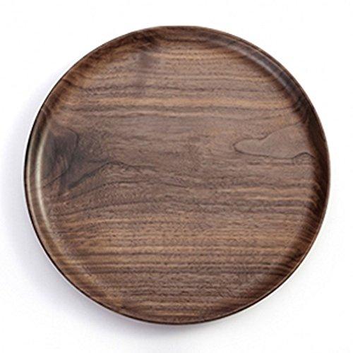 Tablett Dessertteller Kreis Massivholz Vintage Tee-Set Dekoration Urlaub Geschenke Service Hotel/Western Restaurant - Black Walnut (Größe : 20cm) -