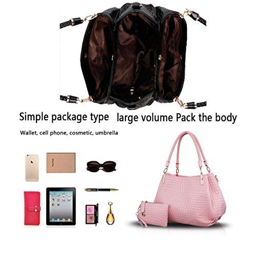 H&S Nuovo Femminile Borse Moda coccodrillo grano Borsa a mano Stile Casual Set di 2 borse Borsa messenger + Portafoglio rosa