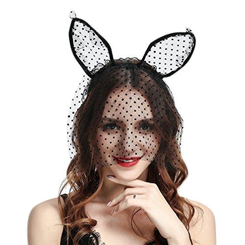 Jolisson Hase Haarreif Spitzen Lang Ohren Lace Maske Bunny Kostüm Vintage Maskenball Party Schleier Fasching Karneval Haarband Kopfbedeckung