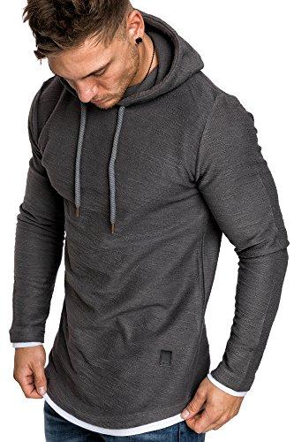 Amaci&Sons Herren 2in1 Oversize Kapuzenpullover Hoodie Sweater Sweatjacke Pullover Sweatshirt 4014 Iron L
