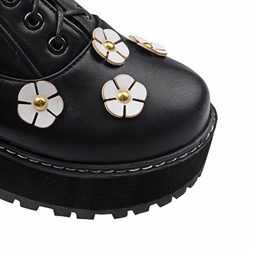 VogueZone009 Femme Rond à Talon Correct Matière Mélangee Floral Lacet Chaussures Légeres Noir