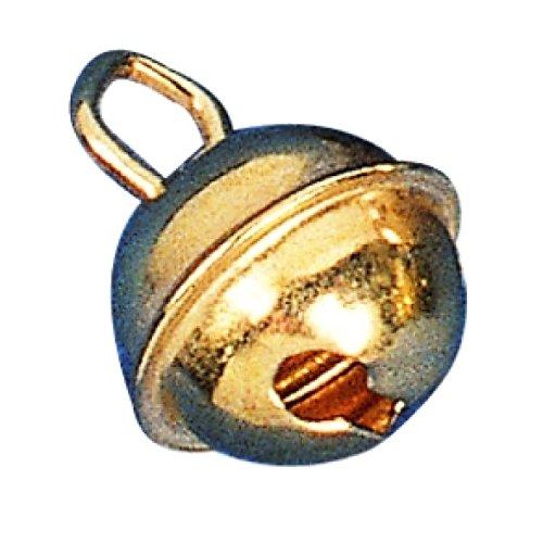 RAYHER 2503406 Metallglöckchen, kugelförmig, SB-Btl, 4 Stück, 29 mm Durchmesser, gold -