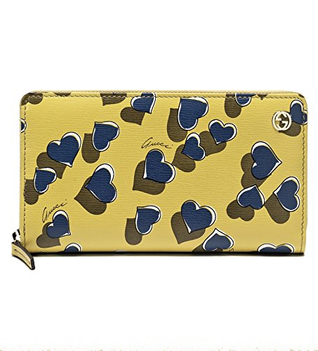 Gucci-Heartbeat-Heart-Print-Yellow-Leather-Zip-Around-Wallet-309705