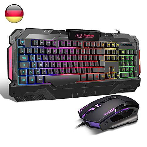 Gaming-Tastatur {DE Layout} GK806 Rainbow LED-Hintergrundbeleuchtete Kabel-Tastatur 7 Tastenoptische Maus USB-Gaming-Tastatur und -Maus-Combo-Set für PC-Laptop