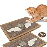 Nobleza - Cat Scratching Board with Sisal Play Kitten Scratch Corrugated Card Pad Mat Board with Free Catnip, 38.2 * 24.5 * 4CM(2)