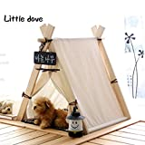 Little Dove Hause und Zelt mit Spitze für Hund oder Haustier, abnehmbar und waschbar mit Matraze (weiß)