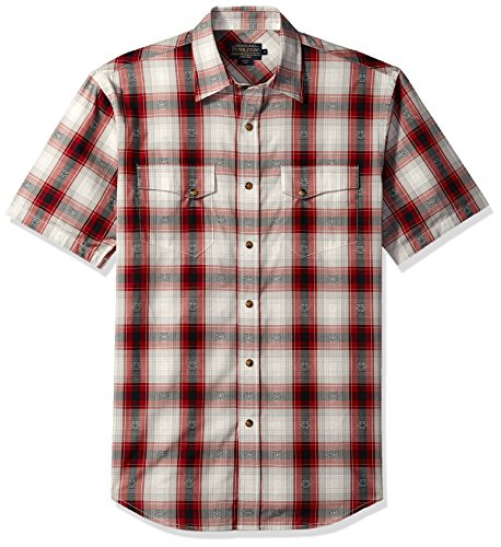 Pendleton Herren Short Sleeve Dressy Western Shirt Button Down Hemd, Red/Black Diamond Plaid, Klein (Shirt Dressy Western)