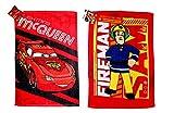 Fireman Sam Cars Diesney - 2er Pack - Set - Tolle Gechenkidee für Jungen- Kinder -Handtuch/Gesichtstuch / Gästetuch - 40 x 60 cm - 100% Baumwolle -2 er Set: 1 x Cars und 1 x Fireman Sam