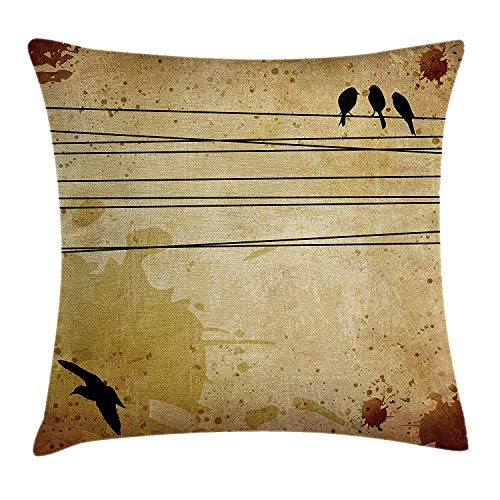 VYPHN Flying Birds Decor Throw Pillow Cushion Cover, Cables and Birds Image on Vintage Paper Style Background with Paint Pattern, Decorative Square Accent Pillow Case, 18 X 18 inches, Mustard -