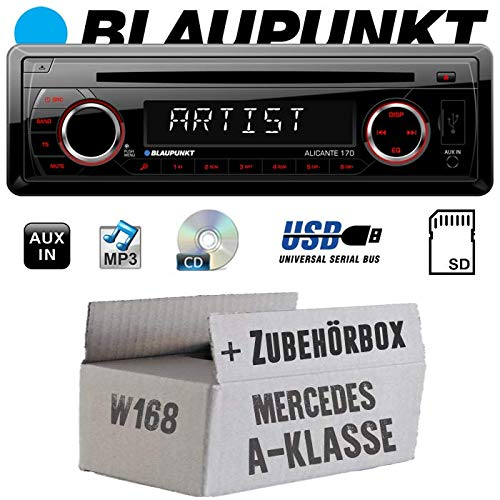 Mercedes A-Klasse W168 - Autoradio Radio Blaupunkt Alicante 170 - CD/MP3/USB - Einbauzubehör - Einbauset (Mp3 Cd Auto Radio)